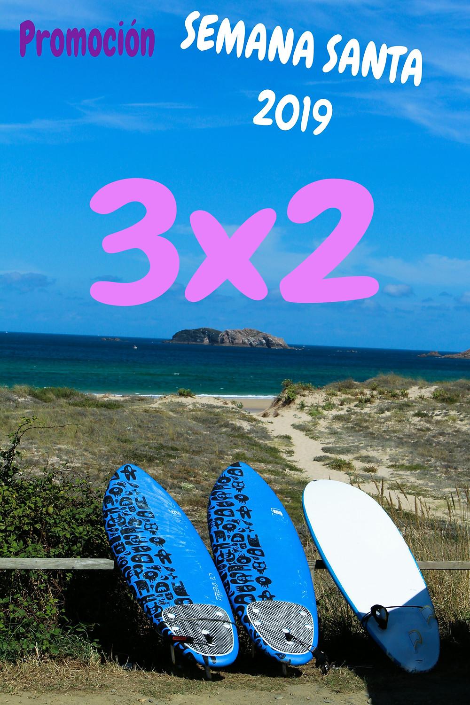 Esta semana santa 2019 puedes aprender a surfear con tus amigos y disfrutar de esta magnifica oferta..¡   surfeareis 3 personas al precio de 2. APROVECHATE...¡¡¡¡¡¡¡