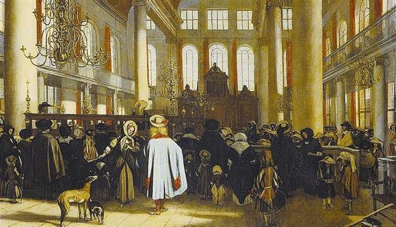 Descendentes de judeus que deixaram Portugal fundaram a Sinagoga de Amesterdão, aqui num quadro de Emanuel de Witte (1617-1692)