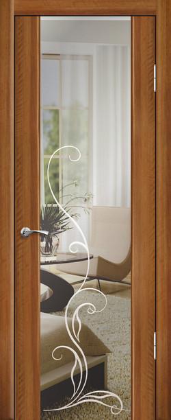 Люкс 1 ДО Триплекс зеркало с гравировкой Орех седой-светлый