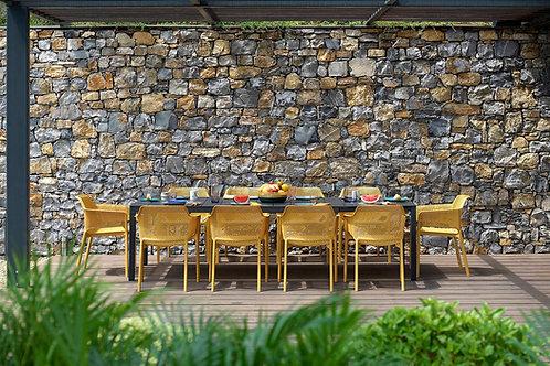 NARDI PROMO SET (tafel + 8 stoelen) RIO ALU 210(280)x100 + NET armstoelen