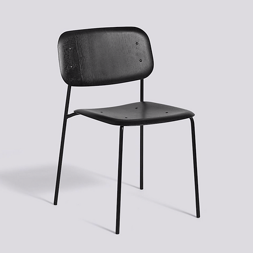 HAY Soft Edge structure noir, assise et dossier plaqué chêne teinté noir