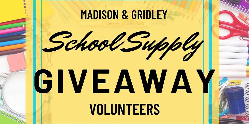 Madison & Gridley School Supply Giveaway Volunteers