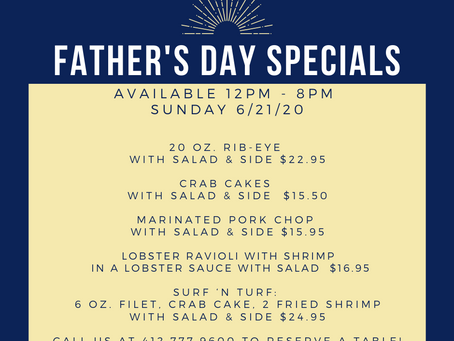 Father's Day Specials, Family of 4 Pick-ups, and Desserts