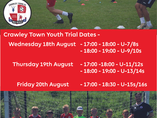 Upcoming Trial for New Players Only at Crawley Town