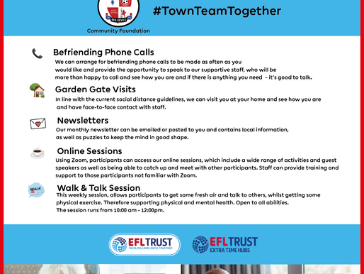 'Tackling Loneliness Together' is set to continue in 2021 at Crawley Town Community Foundation