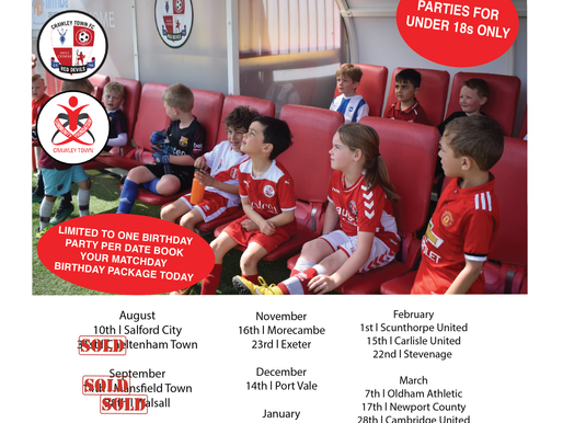 What you need to know about having a Birthday Party at Crawley Town FC!
