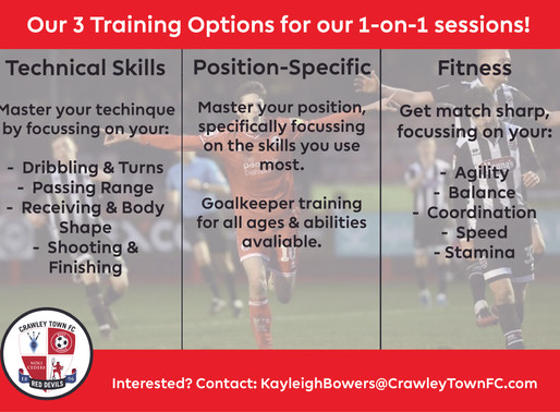 Introducing Crawley Town's 1-on-1 sessions!