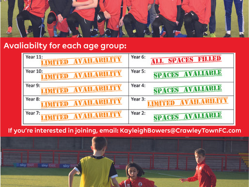 Crawley Town are looking for new youth team players!