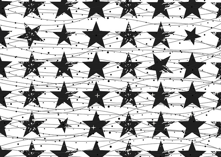 פלייסמט כוכבים שחור לבן