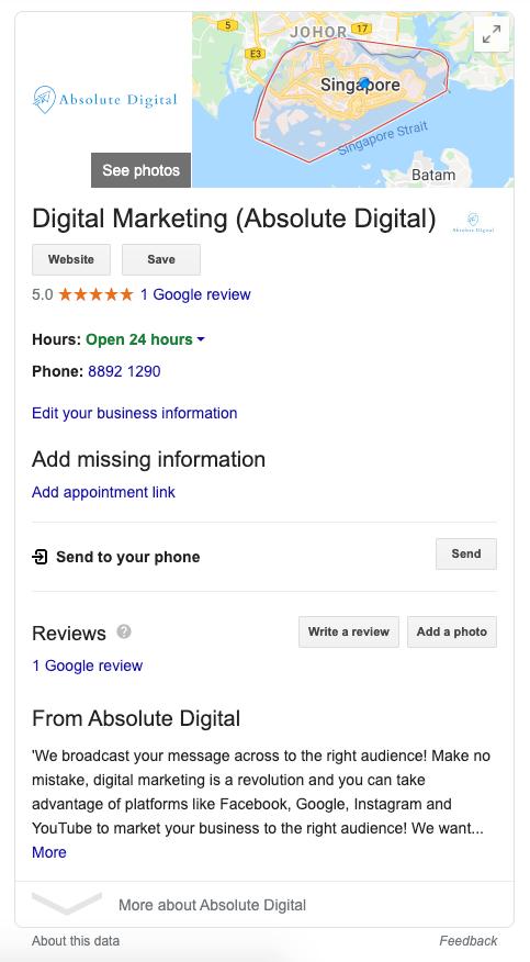 Absolute Digital on Google Business Listing Singapore