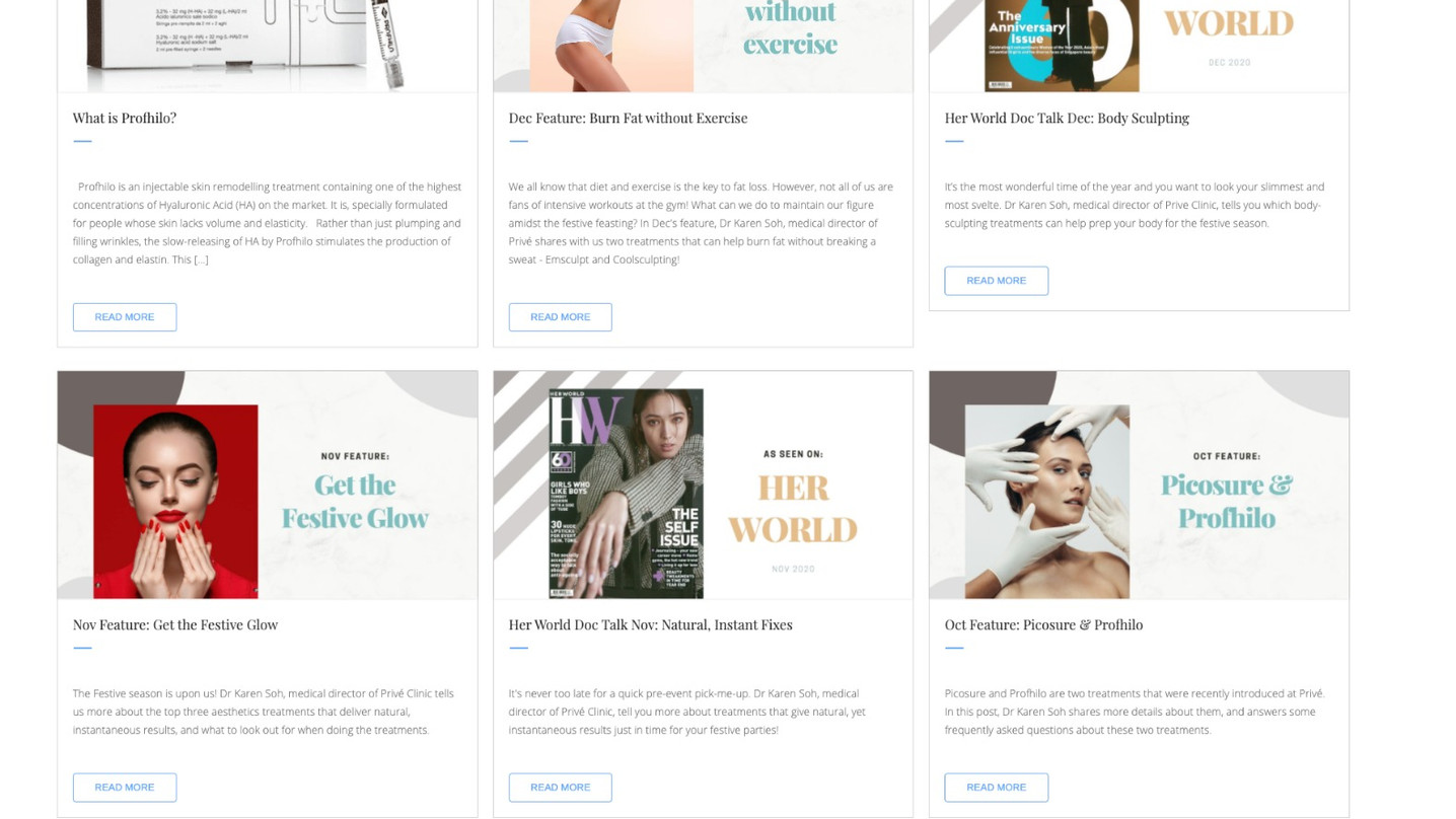 Prive Clinic SEO Blog Posts by Absolute Digital