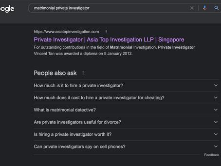 FAQ For A Matrimonial Private Investigator in Singapore