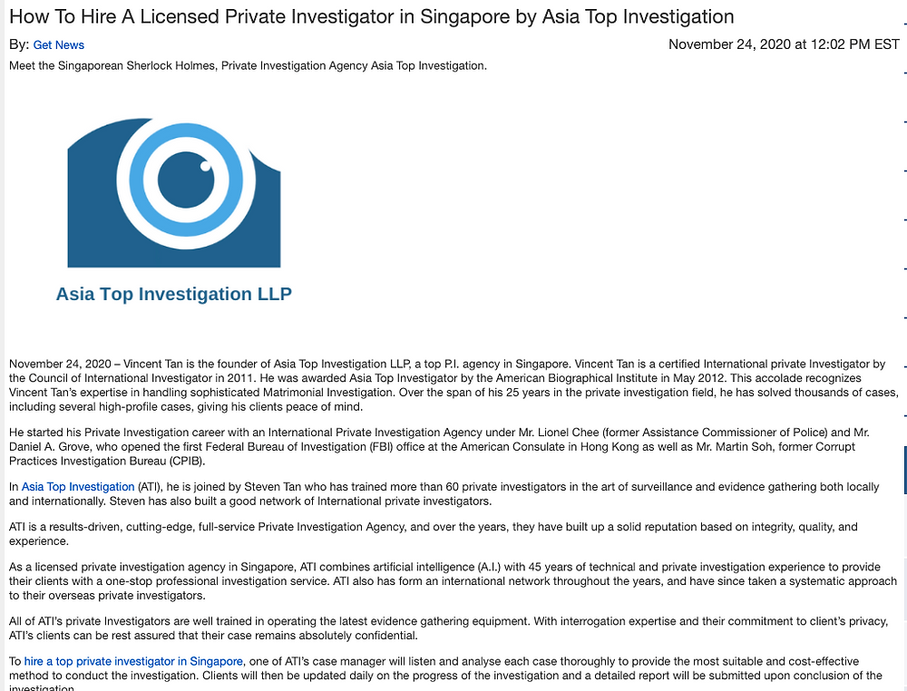 Asia Top Investigation Featured 2020 | Your Trusted Private Investigations Agency in Singapore