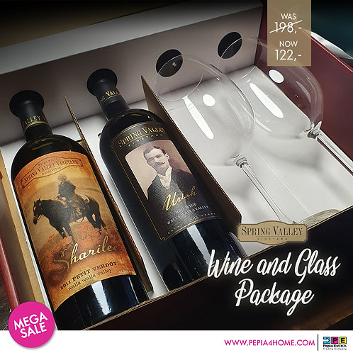 Spring Valley Wine & Glass Package