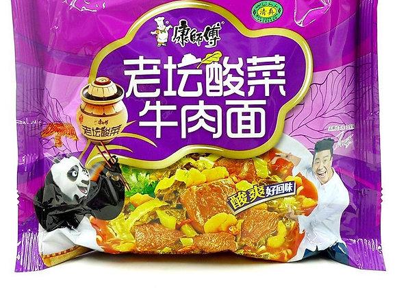 Master Kong old pickled vegetable beef noodles康师傅老坛酸菜牛肉面/1包
