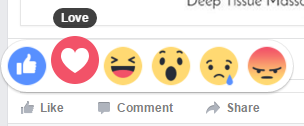 Facebook reactions - love