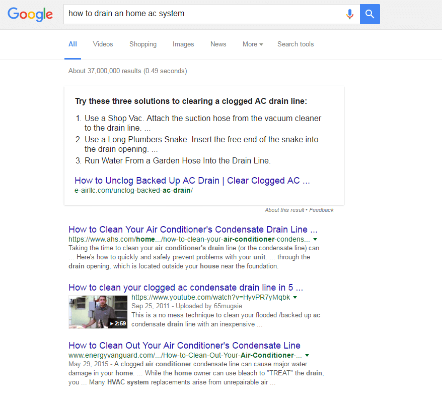 direct answer SEO for HVAC