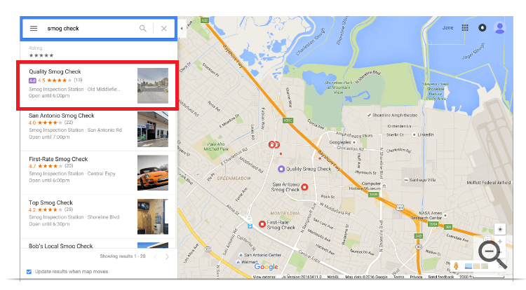Google Maps local search ads on desktop