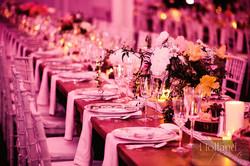 wedding kings table pink uplighting