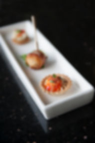 Bacon wrapped scallops, Torta Canapes, Mini Crab Cake