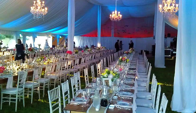Farm Tables Wedding Tent