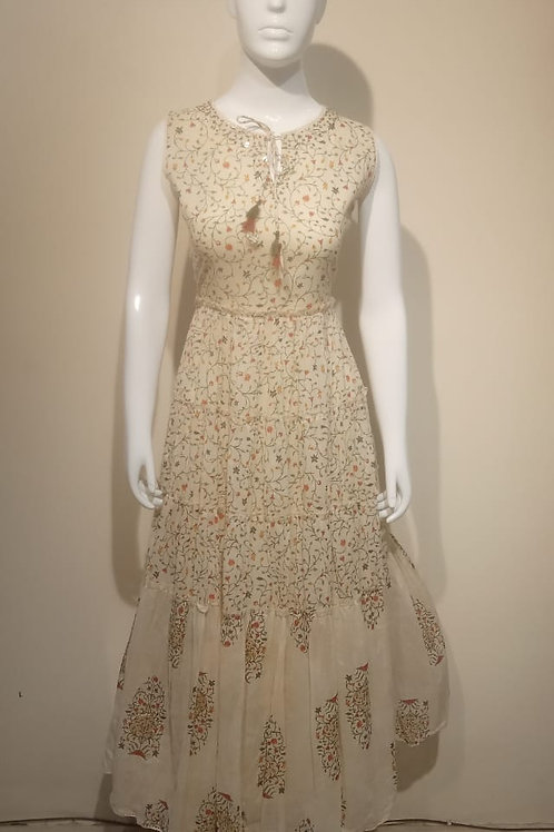 Cream Floral Summer Dress
