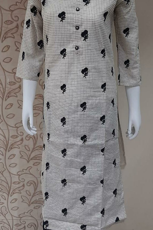Checks CTN Emb. Kurti Plazo Set