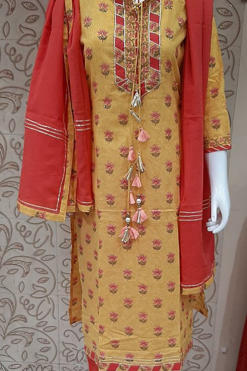 Musterd Pink Plazo Set with Dupatta