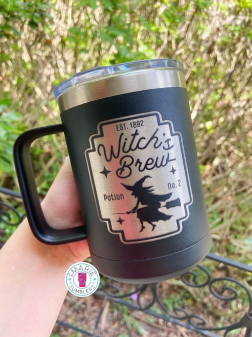 Witch's brew laser engraved stainless steel mug
