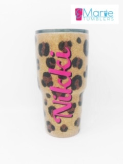 Hand painted/glittered leopard print