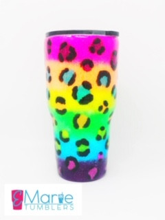Neon hand painted/glittered leopard print