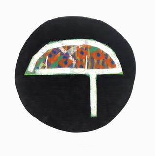 True Fiction 3 1992 Acrylic & Enamel on Laminated Board 12 diameter, inches