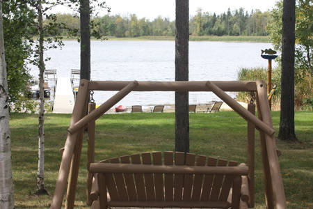 log swing lake front viewing