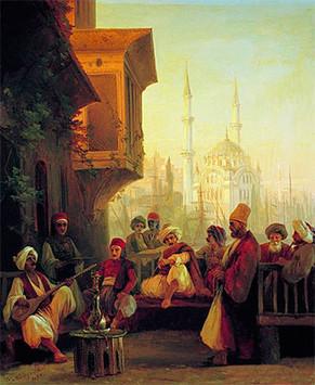 Кофейня у мечети Ортакёй в Константинополе.