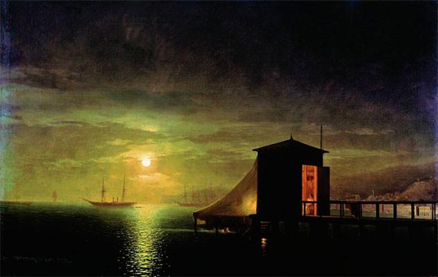 Лунная ночь. Купальня в Феодосии.