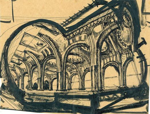 Станция метро Маяковская, рисунок архитектора А. Н. Душкина.