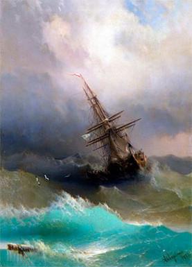 Корабль среди бурного моря.