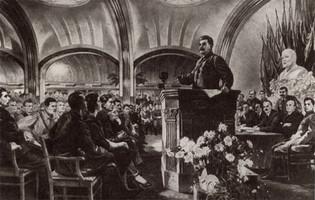 Выступление И. В.Сталина передделегатами съезда на станции Маяковская в начале войны.