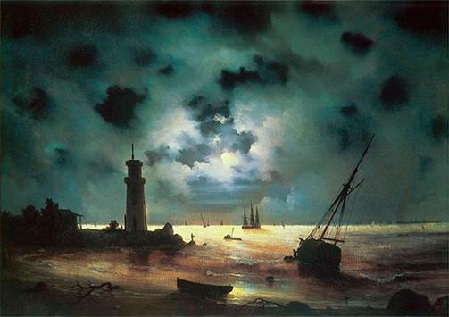 Берег моря ночью. У маяка.
