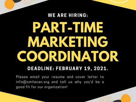 SMILE is Hiring: Part-Time Marketing Coordinator