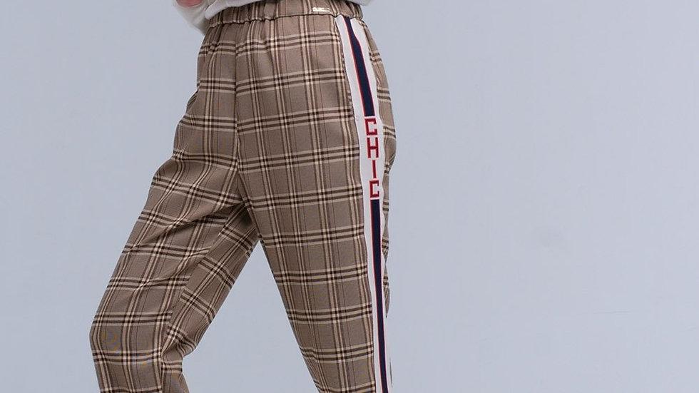 Brown Tartan Pattern Pants