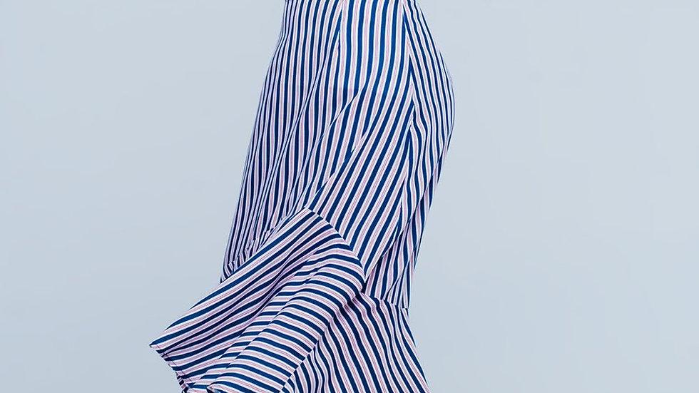 Navy Stripe Asymmetric Hem Midi Skirt