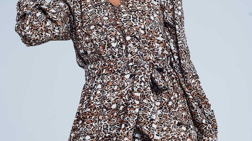 V Front Leopard Print Midi Dress