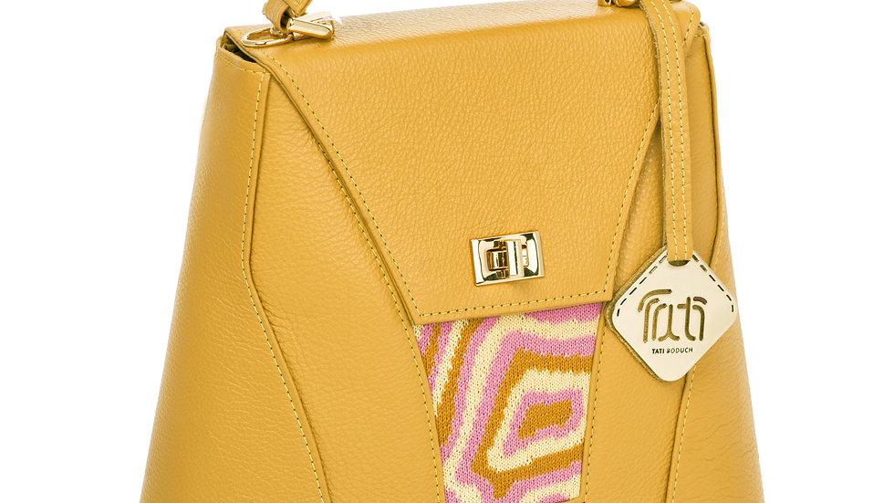 TATI BODUCH Designer Handbag, AGATE Collection, Genuine Leather: Mustard, Knitwe