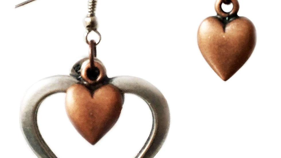 Heart Cluster Earrings in Brass and Silver