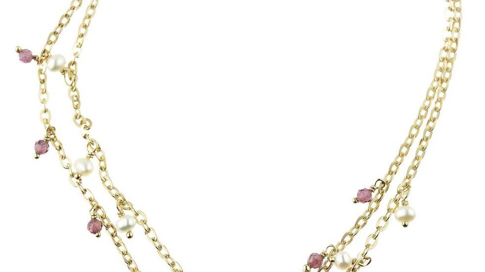 Gold Garnet & Pearl Double Gem Chain Bracelet