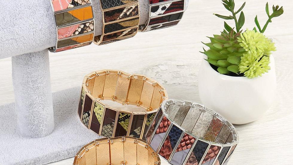 Animal Print Leather Stretch Bracelet