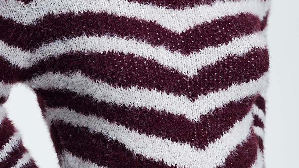 Fluffy Stripe Sweater in Maroon