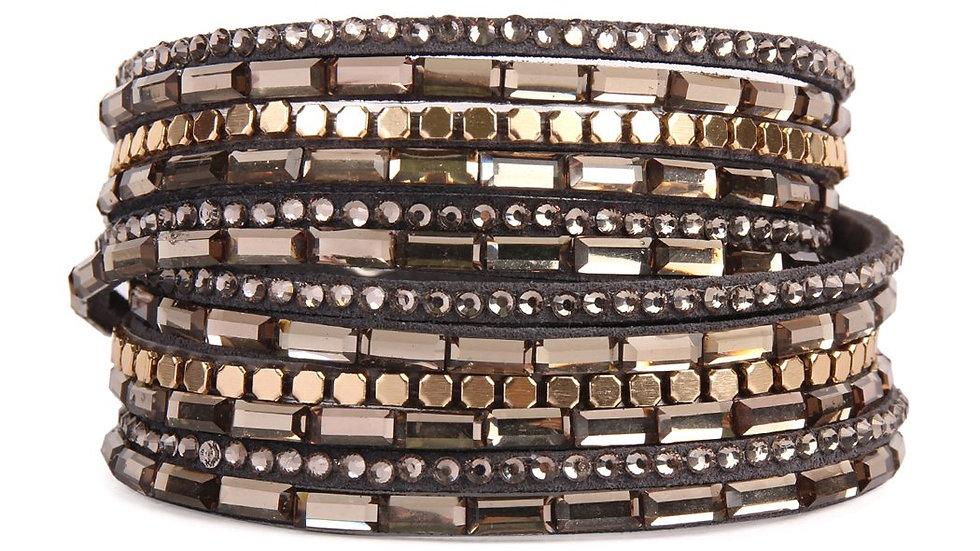 Mixed Beads and Rhinestone Wrap Bracelet