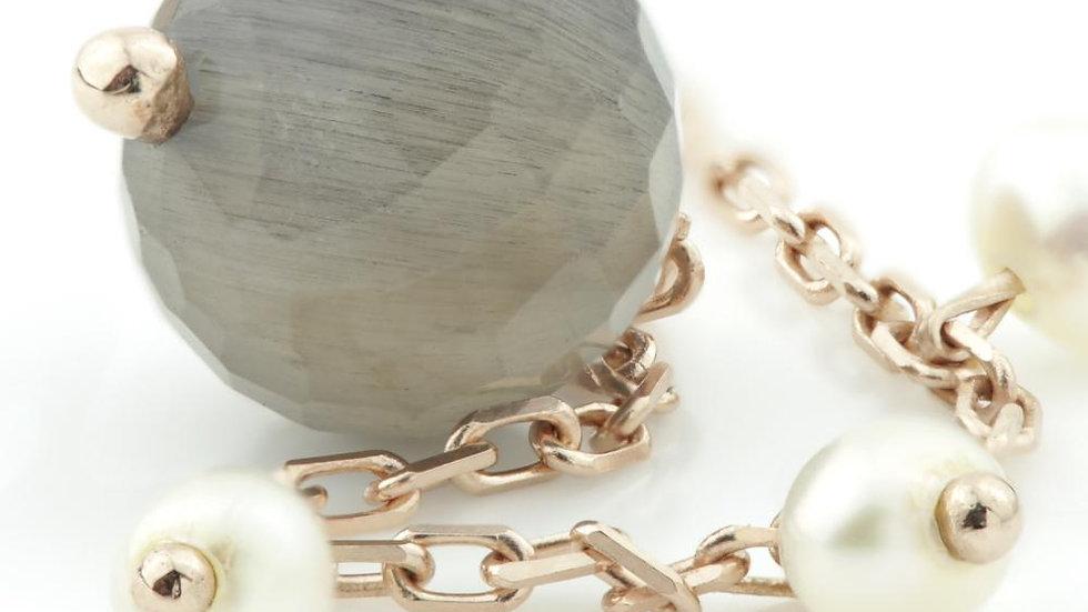 Maia Rose Gold Bracelet With Black Labradorite & Pearl